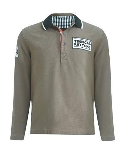 GULLIVER Junge Polo Shirt | Farbe Khaki Grün | Langarm | mit Tiermotiv Muster, Bedrucken | Baumwolle | für 8-13 Jahre