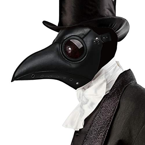 Plague Doctor Costume Mask Faux PU Leather Bird Beak Steampunk Halloween Cosplay Party Props (Deluxe Black)