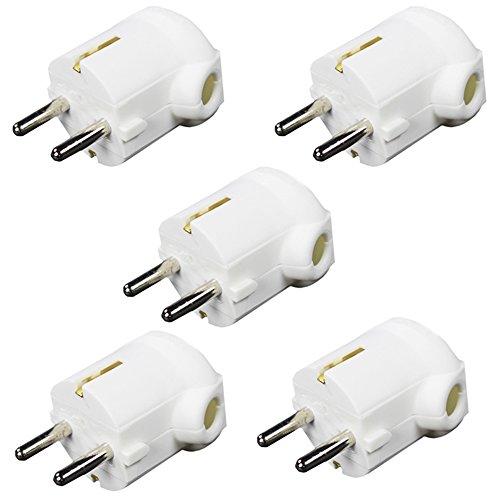 com-four® 5X Schutzkontaktstecker gewinkelt weiß Schutzkontakt Winkelstecker montierbar bruchfest (05 Stück - weiß)