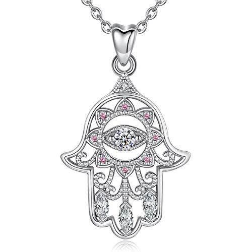 EUDORA Fatima's Hand Kette 925 Sterling Silber Böse Auge Hamsa Hand Viel Glück klar CZ Vintage Anhänger Halskette für Frauen Damen Bestes Urlaubs Geschenk, 18