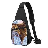 ワンショルダーバッグ メンズ 斜めがけ胸バッグ ボディー肩掛けバッグ 小型手提げバッグ 出張 通勤 通学用 ドイツの画家 オオカミ