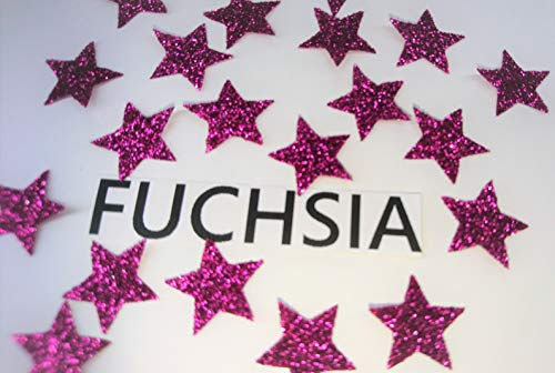 SAFIRMES 20 Sterne, Fuchsia, zum Aufbügeln, Glitter, 1,5 cm, Glitzer-Effekt