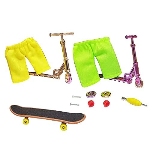 adgfd Mini Juego De Juguetes para Dedos Patinetas para Dedos Scooter De Aleación para Dedos + Pantalones + Juego De Herramientas Juguete para Bicicleta Patineta para Dedos Bicicleta