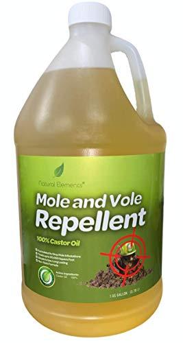 Natural Elements Mole and Vole Repellent   100% Castor Oil   Pet Safe and Non Toxic  128 oz (1 Gallon)