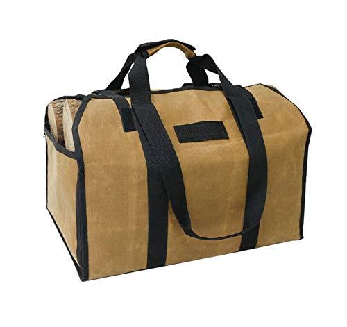 Brynnl Sac de rangement pour bûches, grande capacité, toile cirée, sac de rangement pour bois de chauffage avec poignées et bandoulière, imperméable, pour l intérieur et l extérieur