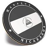 Posavasos redondo único – BW – Impresionante bandera de Nicaragua América | Posavasos de calidad brillante | Protección de mesa para cualquier tipo de mesa # 41862