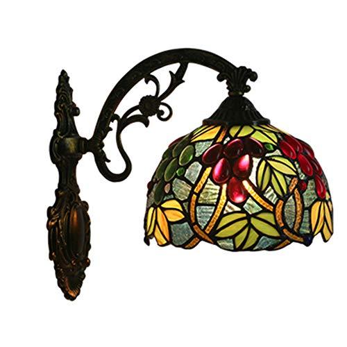 MTTK Vintage Style Tiffany Mur Lampe Couleur Raisin conçu Verre Mur lumière intérieur éclairage 20 * 36CM