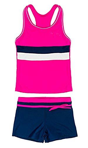 SwissWell Mädchen Bikini Bademode 2-teilig Sport UV-Schutz Badeset Badeanzug Set 3 Stripes Badeshirt und Badeshorts für 12-13 Jahren Rosa