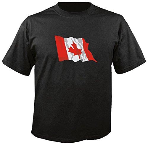T-Shirt für Fußball LS32 Ländershirt M Mehrfarbig Canada - Kanada mit Fahne/Flagge - Fanshirt - Fasching - Geschenk - Fasching - Sportshirt schwarz