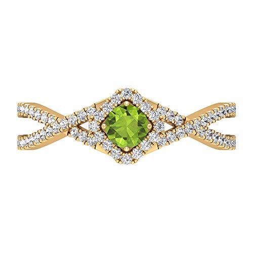 Rosec Jewels 18 quilates oro amarillo redonda round-brilliant-shape H-I Green Diamond Peridot