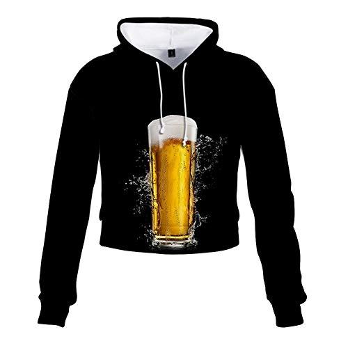 Sudadera con Capucha Realista 3D Efecto Completo Pullover Sudadera con Capucha Ropa Deportiva de Manga Larga Tops Unisex Tapa con Jarra de Cerveza Larga Umbilical