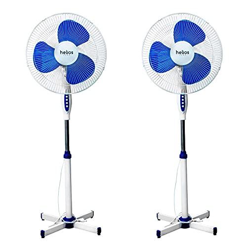 HELIOS HOME - Pack de 2 Ventiladores de Pie Levante 16' - Ventilador Pie 45W de Potencia, Oscilante 180º y 125 cm de Altura - Color Blanco y Azul