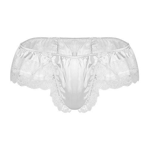 Hombres Sexy Jockstrap Ropa interior sexy masculino para hombre Sissy brillante suave satén Lencería doble capas floral encaje espalda con grande B blanco