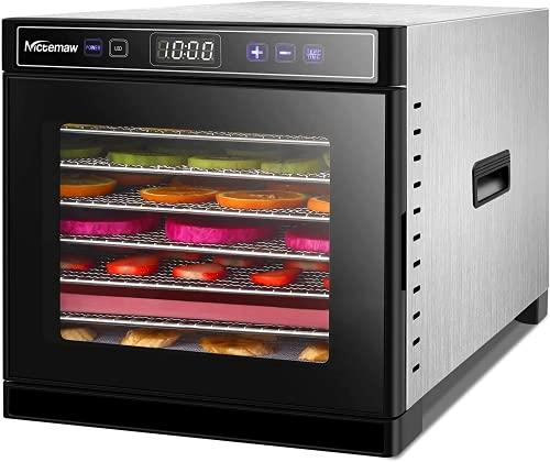 Nictemaw Deshidratador de Alimentos Acero Inoxidable-8 Bandejas-con Pantalla LCD,Gran Capacidad,600W,Temperatura Ajustable 35 -75 ° C,con Temporizador,Libre de BPA