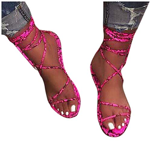 Aniywn Gladiator Sandal Lace up Flat Sandals for Women Summer Dress Shoes Open Toe Strappy Outdoor Slip On Shoes Hot Pink