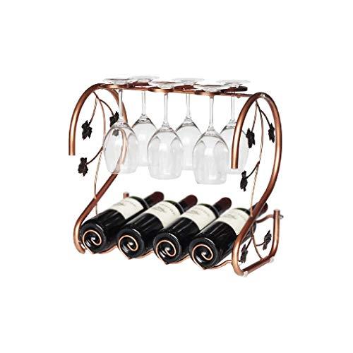 NXYJD Estante Iron & Wine Rack Moderno Diseño de la Vid de Bronce, Independiente del Vino del Metal Estante de Almacenamiento