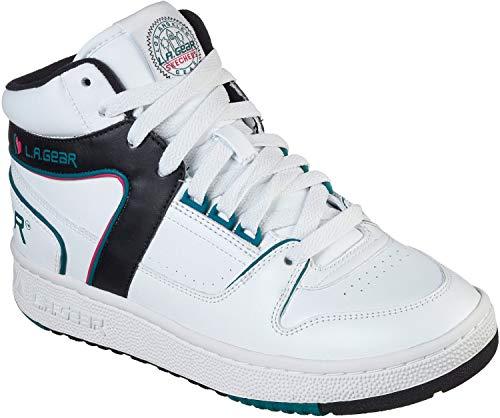 Skechers - L.A. Gear - Zapatos Slammer, (Blanco/Negro/Turquesa), 35.5 EU