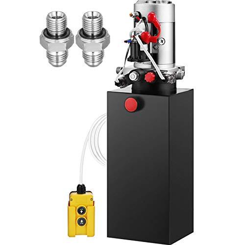 Mophorn Hydraulic Power Unit 8 Quart Hydraulic Pump Double Acting Hydraulic Power 12V DC with Metal Oil Reservoir Hydraulic Pump Power Unit for Dump Trailer Car Lifting