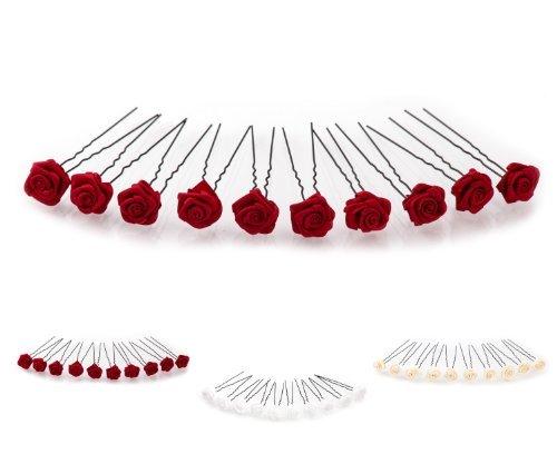 10 x Rosen auf Haarnadel - für tiefe Haarpartien - Brauthaarschmuck | S-T - Bordeaux Rot