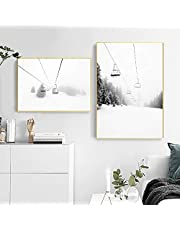 Zwart Wit Fotografie Wall Art Canvas Nordic Ski Mountain Print Modern Picture Ski Lover Gift Home Decoration Painting (70x100cm) 2pcs Frameless