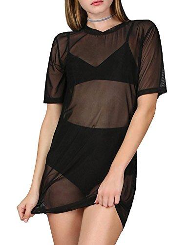 WuLun Women's Sexy Cover Ups Short Sleeve See Through Gauze Mesh T-Shirt Dress (X-Large, Black01)