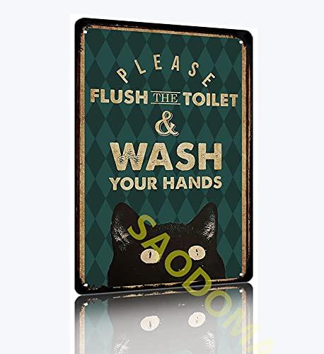 SAODOMA Cartel decorativo clásico de gato de Halloween con texto en inglés 'Please Flush the Toilet para el garaje al aire libre' retro pared arte de moda hombre cueva estaño 30 x 20 cm