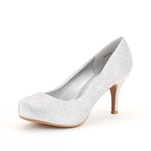 DREAM PAIRS Tiffany Women's New Classic Elegant Versatile Low Stiletto Heel Dress Platform Pumps Shoes Silver Size 8