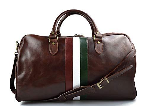 Bolsa de viaje piel mujer hombre bolso de equipaje bandera italiana cuero italiano bolso deportivo bolsa cabina marrón