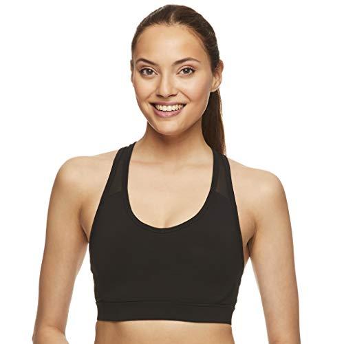 Reebok Women's Wireless Racerback Sports Bra - Medium Impact Athletic Active Fitness & Gym Bralette w/Keyhole Cutout - Black Match Bra, X-Large