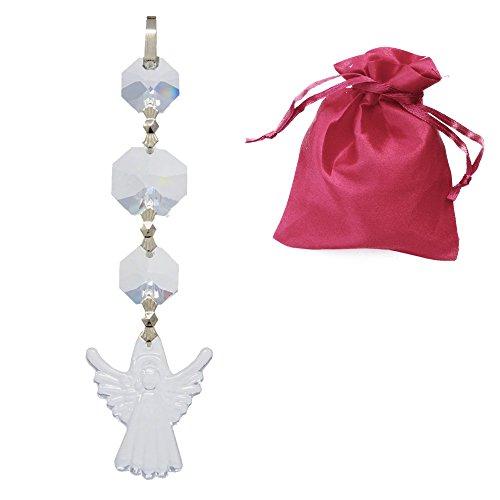 Christoph Palm lichten beschermengel met kristallen koppen in geschenkzakje 110 mm lang om op te hangen kristallen engel charmes geluksbrenger kristalhelder