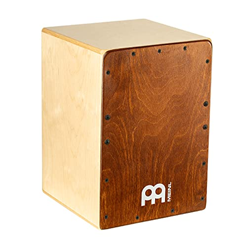Meinl Percussion Jam Cajon Instrument/Trommel für Kinder und Erwachsene - Trommelkiste (Drumbox) mit Snare Teppich - Kein Cajon Bausatz - Almond Birch Frontplatte (JC50AB)