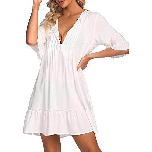 Liably Vestido de playa para mujer, manga corta, color puro, escote en V, minivestido suelto, vestido de verano, vestido de fiesta Blanco M