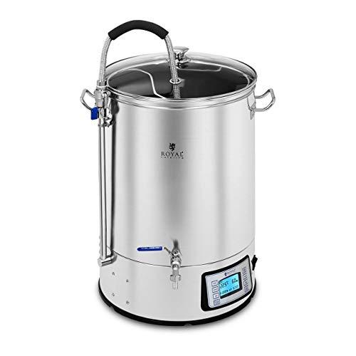 Royal Catering Bollitore per Birra Fermentatore Elettrico Mosto RCBM-41N (40 Litri, 2.500 W, Acciaio Inox, Vetro Temperato)