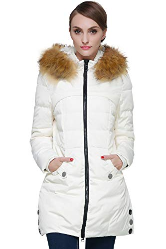 Orolay Women's Down Jacket with Faux Fur Trim Hood Beige S