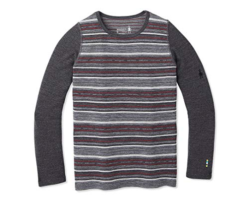 Smartwool Kids' Baselayer Pattern Crew - Merino 250 Wool Boys Crewneck Performance Shirt X-Large Charcoal Margarita