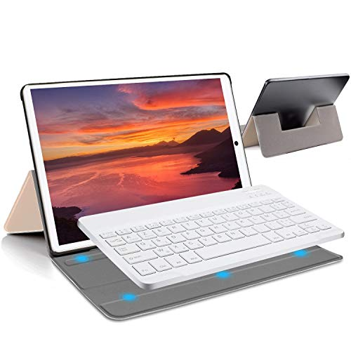 4G Tablets 10.1Pulgadas Android 9.0 Pie, Certificación Google gsm, 2 en1 Tablet con Teclado 4GB RAM +64GB/128 ROM, Type-C 8000mAh 5MP+8MP Tablet PC Quad Core Dual SIM Bluetooth/ Netflix/Google Play