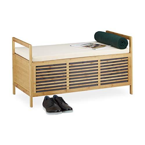 Relaxdays Sitzbank mit Stauraum, Aufbewahrungsbox m. Sitzkissen f. Flur, Bambus Truhe L HxBxT: 50 x 93 x 48 cm, natur
