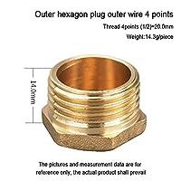 BXU-BG すべての銅の厚いインナーワイヤプラグの真鍮のねじ切りのジョイントアダプタの管のキャップの内側と外側のワイヤプラグ4点6点1インチ (Color : 9)
