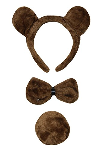Petitebelle Traje de cola de 3 piezas oso diadema Bowtie Un tamaño marrón