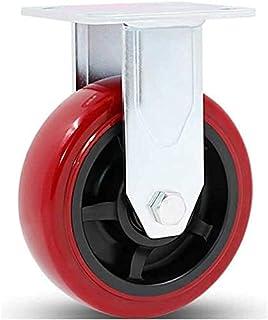 Zware plaat industriële zwenkwielen rode draaiende wielen voor grote meubels trolley flatbed karren grootte naam: 8 inch k...
