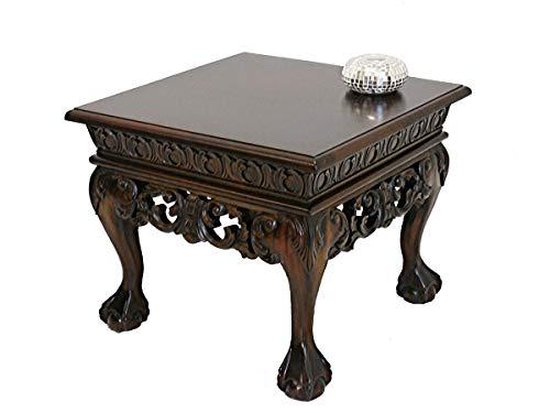Couchtisch in antiken Stil aus Massivholz | Beistelltisch Wohnzimmertisch | Chippendale Stil | 60x51x60 cm (3786)