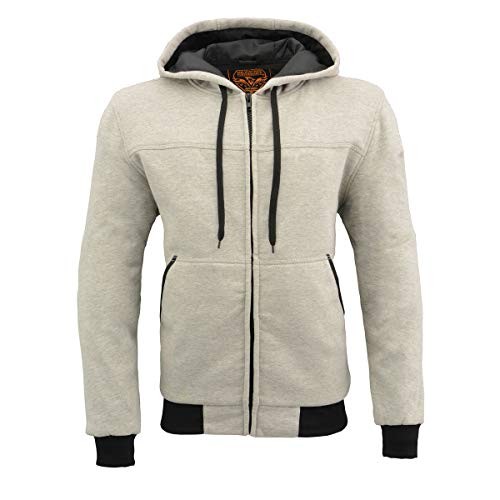 Milwaukee Performance MPM1788 Men's Silver CE Approved Removable Armored Hoodie with Aramid By Dupont - Large