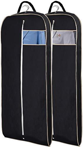 MISSLO Breathable 54' Long Suit Dress Black Garment Bag Gusseted, 2 Pack