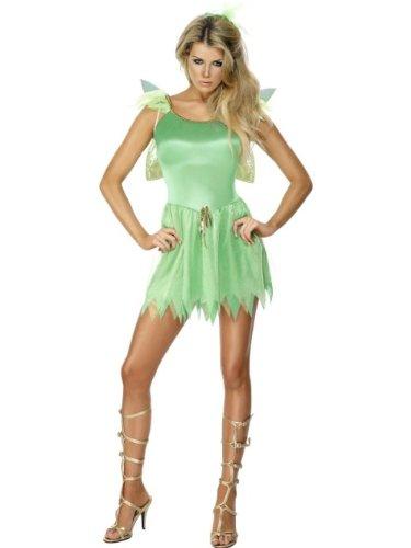 Smiffys-22154M Disfraz de Hada de los bosques, con Vestido, Pieza para la Cabeza y alas, Color Verde, M-EU Tamaño 40-42 (Smiffy