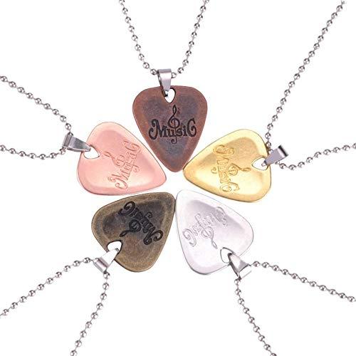 SeniorMar Personalized Guitar Pick Necklace Zinc Alloy Pendants Necklaces for Guitar