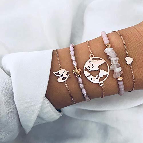 Deniferymakeup Pink Beads Turtle Bracelet Irregular Pink Crystal Love Fox Map Bracelet Bracelet Set,Set of 5