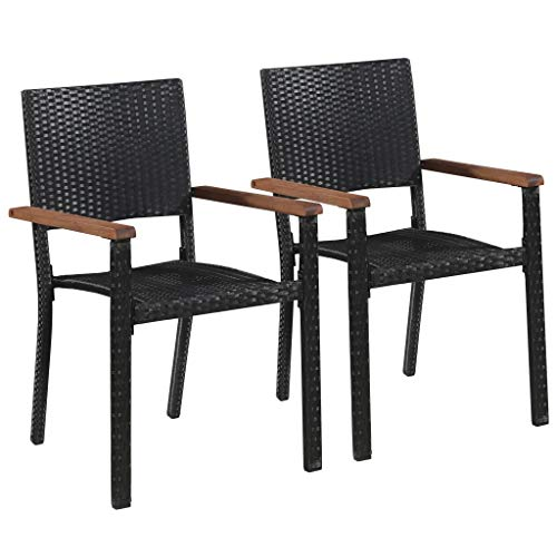 WENXIA 2 sillas de jardín de ratán sintético color negro para exteriores