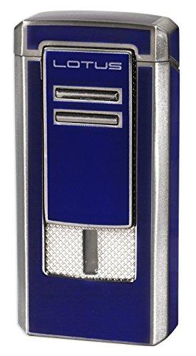 Lotus Commander Triple Flame Lighter w/ Cigar Punch - Blue & Gunmetal