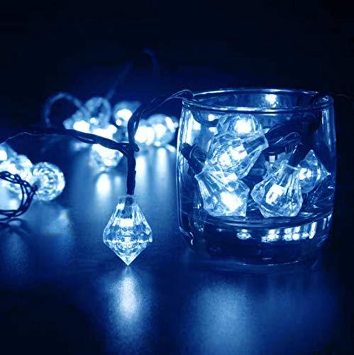 Luces de cadena de diamantes LED solares 12m 100LED 2 modos de iluminación Patio al aire libre Jardín Vacaciones Impermeable Cadena de luz decorativa Azul