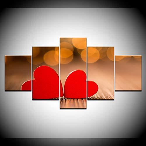 HSDVJZC HD-druk 100×55cm canvasfoto's 5 stuks beelden HD-prints twee rode hartjes behang woonkamer muurkunst wooncultuur